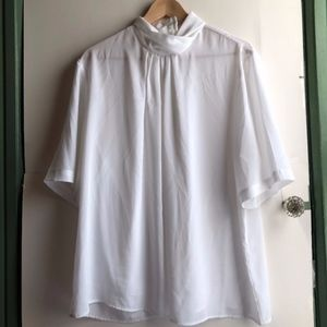 VINTAGE Plus Size White Short Sleeve Collared Top